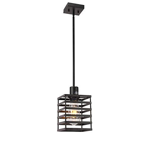 1 Light Adjustable Industrial Pendant Lighting Black Island Kitchen Light Fixtures Rustic Farmhouse Chandelier with Metal Cage Shade by ()