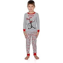 Dr. Seuss - Conjunto de pijama para niños, diseño de gato en el sombrero Trust Me, Gris, Large