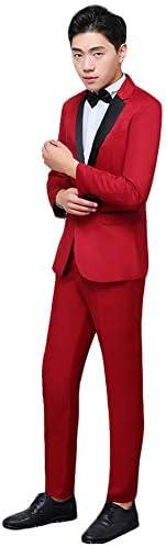 演出服 ステージ衣装 メンズ 舞台 スーツ メンス ビジネススーツ セットアップ ジャケット パンツ スリム レッド ビジネス カジュアル 着心地抜群 パーティー 演奏会 フォーマル 結婚式 就職スーツ 司会者 (レッド, XL)