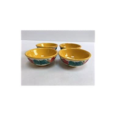 Pionner Woman Blossom Jubilee Gold Dipping Bowls 4 Pack Ceramic Floral 3.125 Inch