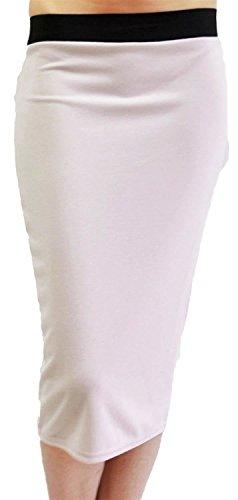 Plaine Nouveau Femmes Jupes Noir 54 Taille White Taille lastiqu 44 Midi Pencil Band Plus BHtw4qHS