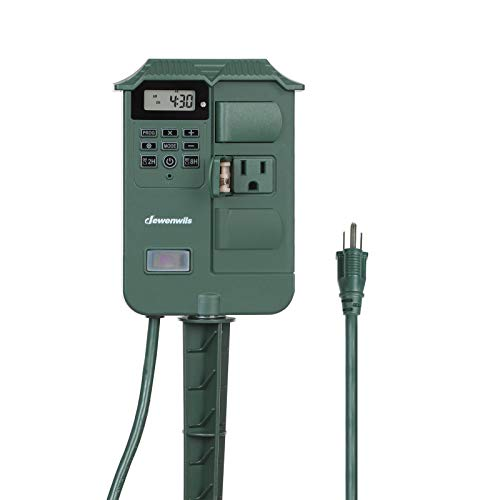 DEWENWILS Outdoor Digital Power Stake Timer Switch, Weatherproof Power Strip, 6 ft Extension Cord with 6 Waterproof Grounded Outlets for Fountain Pool Pump Electrical Outlets, 13A UL Listed (Digital Timer Outdoor)