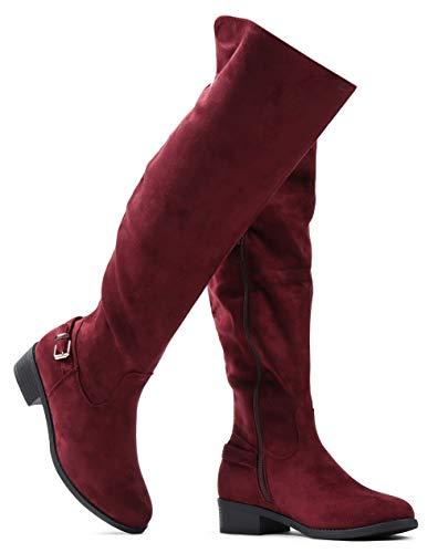 (LUSTHAVE Women's W8 Knee High Boots - Low Flat Stacked Heel - Buckle Side Zip Tan SU 6)