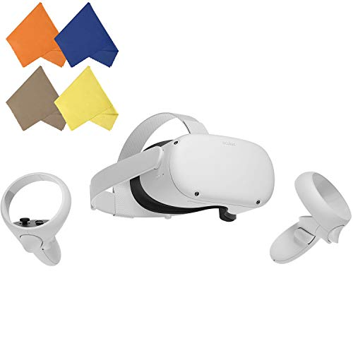 Oculus Quest 2 — Advanced All-in-One Virtual Reality Gaming Headset — for Holiday Family Gaming Entertainment — White — 64GB Video — BROAGE 4 Colors Microfiber Glasses Cleaning Cloth