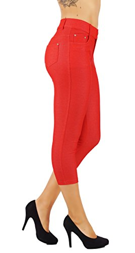 5StarsLine Women's Jean Look Jeggings Tights Slim Fit Pull Up Pants Solid Colors Full Length and Capri Casual Leggings (2X USA 18-20, 5S01-CP-RED) ()