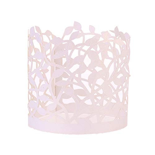 - VigorIA Flameless Tea Light Votive Wraps - 50 Pcs White Laser Cut Decorative Wraps for Flickering LED Battery Tealight Candles (not Included)