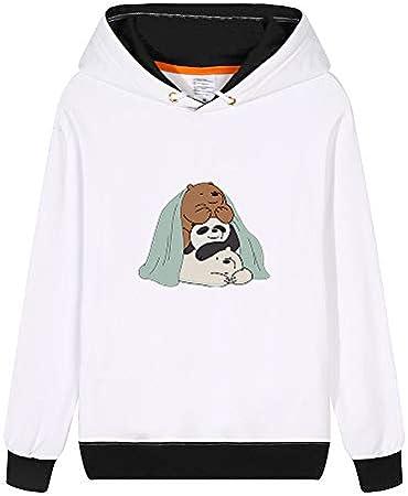Vhunkjnr We Bare Bears Pullover Estilo de los Deportes con Capucha Linda Impreso Simple Camiseta de la Historieta Sudadera for Hombres y Mujeres Unisex