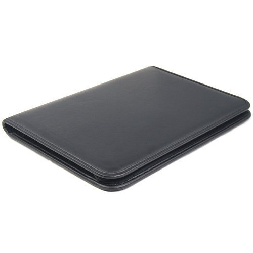 Homgaty negro A4 PU carpeta de cuero con cremallera para conferencia ejecutiva carpeta cartera de negocios