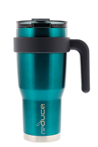 (reduce Hot-1 Vacuum Insulated Thermal Travel Mug for Tea/Coffee, 24 oz – Take Your Warm Drink on the Go – Stainless Steel Cup with Handle and Lid, Fits in Car Cupholder – Metallic Finish, Teal)