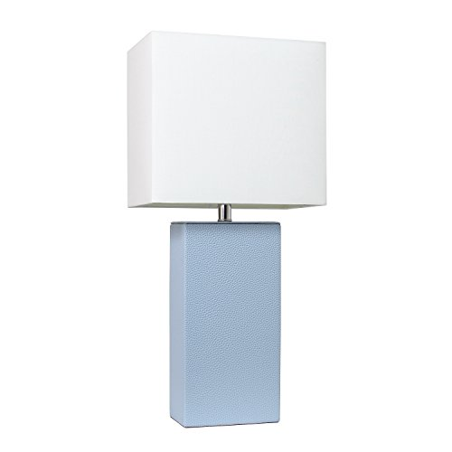 Elegant Designs LT1025-PWK Modern Leather Table Lamp with with White Fabric Shade, ()