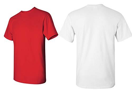 Gildan Men's Heavy Cotton Adult T-Shirt, 2-Pack Red/White, Medium
