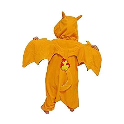 SAZAC Kigurumi - Pokemon - Charizard - Onesie Jumpsuit Halloween Costume - Kids Size (5-9 Year Old) Orange: Clothing
