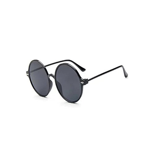 Garrelett Retro Classic Outdoor Round Sunglasses Reflective Sun Eyewear Eyeglasses Black Frame Gray Lens for Men - Wide Ray For Face Ban