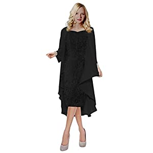 ThaliaDress Womens Lace Straps Mother of Bride Dress with Chiffon Shawl T107LF