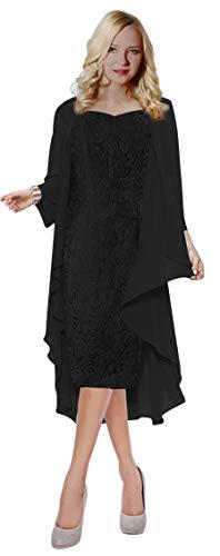 Judy Ellen Women Long Mother of The Bride Dress with Jacket J107LF Black US20W (Black Mother Of The Bride Dresses With Jackets)