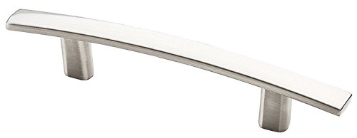 "AVIANO 25 Pack Modern Curved Subtle Arch Handle Pull with 3"" Hole Centers, Satin Nickel Finish"