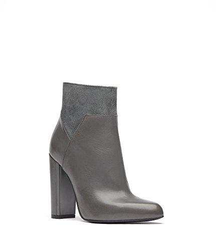 PoiLei Manon - Damen-Schuhe / spitz-zulaufende High-Heel Stiefelette aus Echt-Leder - Ankle-Boot mit Block-Absatz und elegantem Wild-Leder-Einsatz - grau