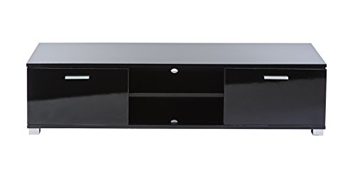 MMT Furniture Designs Black Gloss TV Cabinet - For 32 Inch To 55 Inch LED LCD 3D Smart Television Screens - 1400Mm Wide - Gloss Black Unit With Doors. (Tv Corner Tv For Cabinet 65 Inch)