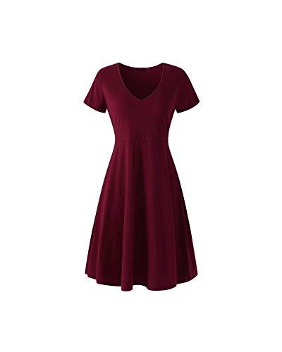 Dresses Women Summer Casual A-Line High Waist Short Sleeve Solid Color Short Dress,Burgundy,L]()