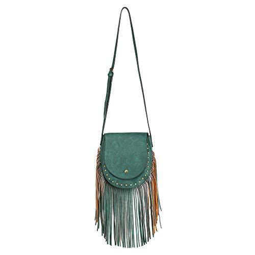 Miss Lulu Women Hobo Schoulder Bag Suede Look Fringe Tassel Boho Cross Body Bag Trend Flap with Magnetic Button Closure Handbags for Ladies Green
