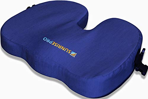 SunrisePro Premium Memory Foam Posture Orthopedic Seat Cushions, for Back Pain, Coccyx Tailbone, Sciatica, Free Carry Bag & Free Seat Cushion Cover 100% Unconditional Guarantee