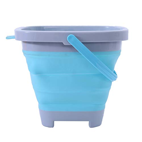 US Fast Shipment 5L Collapsible Silicone Sand Bucket,Binory Folding Sand Pail Square with Handle Beach Sandbox Toy Great for Kids Adults Beach Play Camping Backpacking Cleaning Car Wash Fishing ()