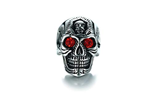 Adisaer Stainless Steel Mens Ring Silver Vintage Punk Skull Rings Red Stone Gift for Boyfriend Size 8