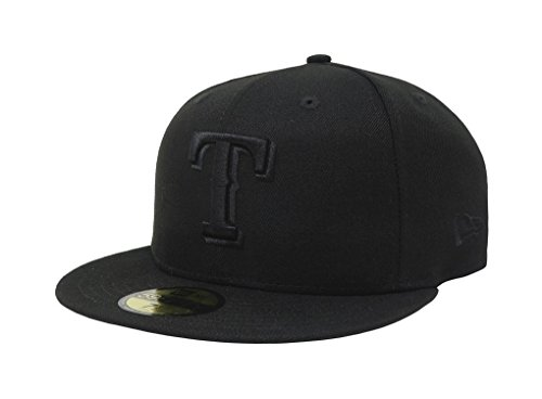 Texas Rangers Wool - MLB Texas Rangers Black on Black 59FIFTY Fitted Cap, 7 7/8