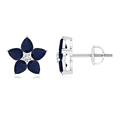 Angara V-Prong Square Blue Sapphire Diamond Stud Earrings in Platinum 08jfY0P9
