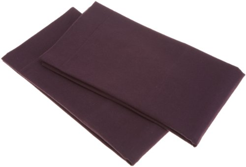 Pinzon Signature 190-Gram Cotton Heavyweight Velvet Flannel Pillowcases - King, Aubergine