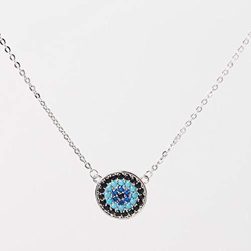 FidgetKute Charm-925 Sterling Silver Turkish Evil Eye Necklace Greek Nazar Woman Jewelry
