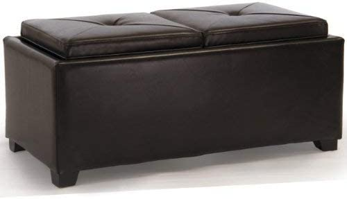 Christopher Knight Home Maxwell Bonded Leather Double Tray Ottoman, Brown