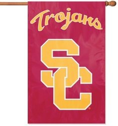 Trojans Flag Usc Tailgate (Party Animal Sports Fan NCAA Team USC Trojans Applique Banner Flag USC lettering design)