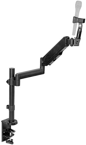 VIVO Black Height Adjustable Pneumatic Spring Microphone Counterbalance Arm Mount, Compact Mic Stand with Mounting Clamp STAND-MIC01