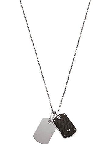 "Emporio Armani Double Dog Tag Carbon Fiber Necklace (23""-24.5"")"