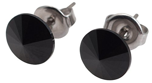 galaxyjewelry ONYX Black Titanium Post Earring Stud, No Allergic Reaction/8mm pair