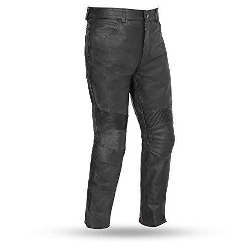 First Mfg Co Men's Smarty Leather Motorcycle Pants (Black, 32)