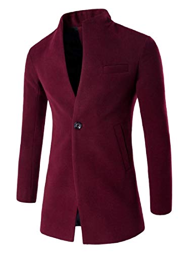 (Fseason-Men Textured Wool and Warm Windproof One Button Pea Coat Wine Red XL)