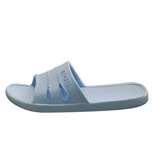 Qianle Unisex Indoor House Slippers Anti-Slip Home Shoes Bathroom Slipper Blue