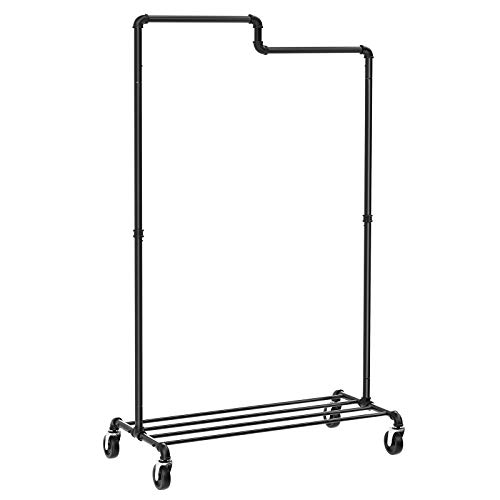 SONGMICS Clothes Garment Rack Heavy Duty , Industrial Style Pipe Clothing Rack, Garment Rack with Wheels, Shelf, for Store, Closet, Entryway, Living Room, Black UHSR63BK