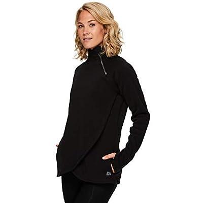 RBX Active Women's Zip Mock Neck Long Sleeve Fleece Pullover Sweatshirt at Women's Clothing store