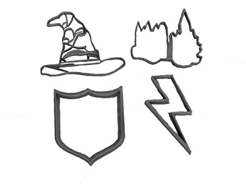 (Sorting Hat, Crest, Lightning Bolt and Castle Cookie Cutters (4 Pack))