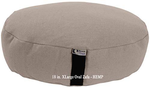 Bean Products Hemp Natural - Oval Zafu Meditation Cushion - Yoga - Organic Buckwheat Fill - Made in USA