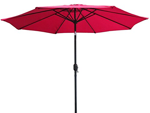 VMI M-02032-A 9 Ft Aluminum Umbrella, Red - 9 ft for ideal coverage Sturdy and reliable aluminum Adjustable Height and angle of shade with crank - shades-parasols, patio-furniture, patio - 31MbtaAifhL -