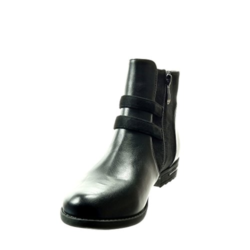 Angkorly Zapatillas de Moda Botines Chelsea Boots Bimaterial Mujer Hebilla Metálico Talón Tacón Ancho 3 cm - Negro