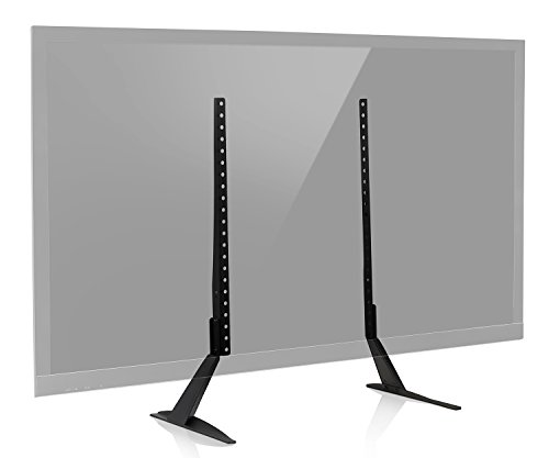 Mount-It! Universal TV Stand Base Tabletop VESA Pedestal Mount for LCD/LED/OLED 4K Televisions Fits 32 37 40 42 47 50 52 55 60 TVs, 110 Lb Capacity (MI-848) - Teak Tv Cabinet