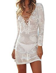 Women's Deep V Neck Lace Hollow Crochet Swimwear Bikini Cover Up Beach dress(White)