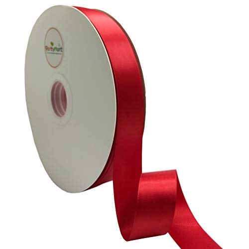 PartyMart 1 Inch Wide Polyester Double-Face Satin Ribbon, 100 Yards, Red