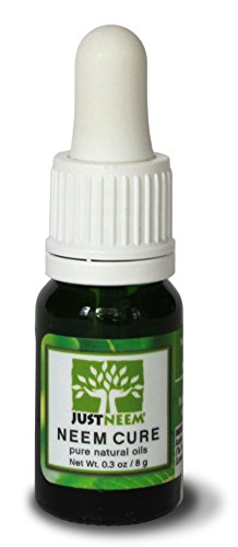 JustNeem Neem Cure Oil - Natural - Best on Acne, Psoriasis, Eczema, Rosacea, Cold Sores, Athlete's Foot, and more! - Antiviral, Antifungal, Antibacterial - 0.3 ounce (The Best Cure For Eczema)