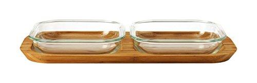 Leonardo 034323 Set 3-teilig Glas Ofenformen Gusto 16 x 16 cm mit Servierplatte